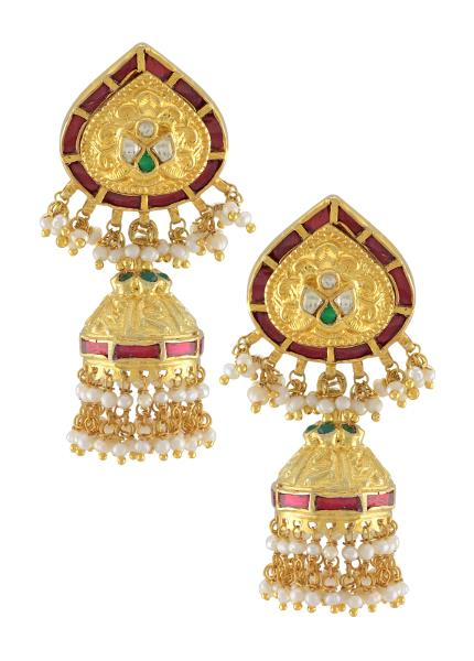 Silver Gold Plated Traditional Pearl Drop Jhumki Earrings