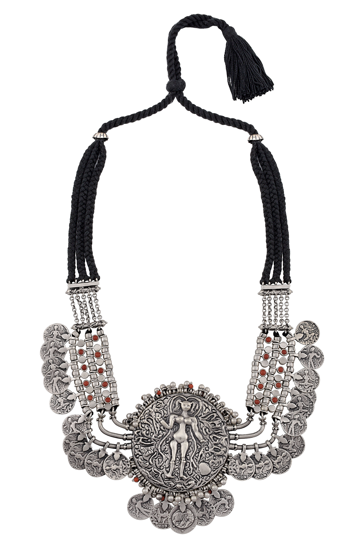 Silver Embossed Disc Coin Rawa Thread Necklace