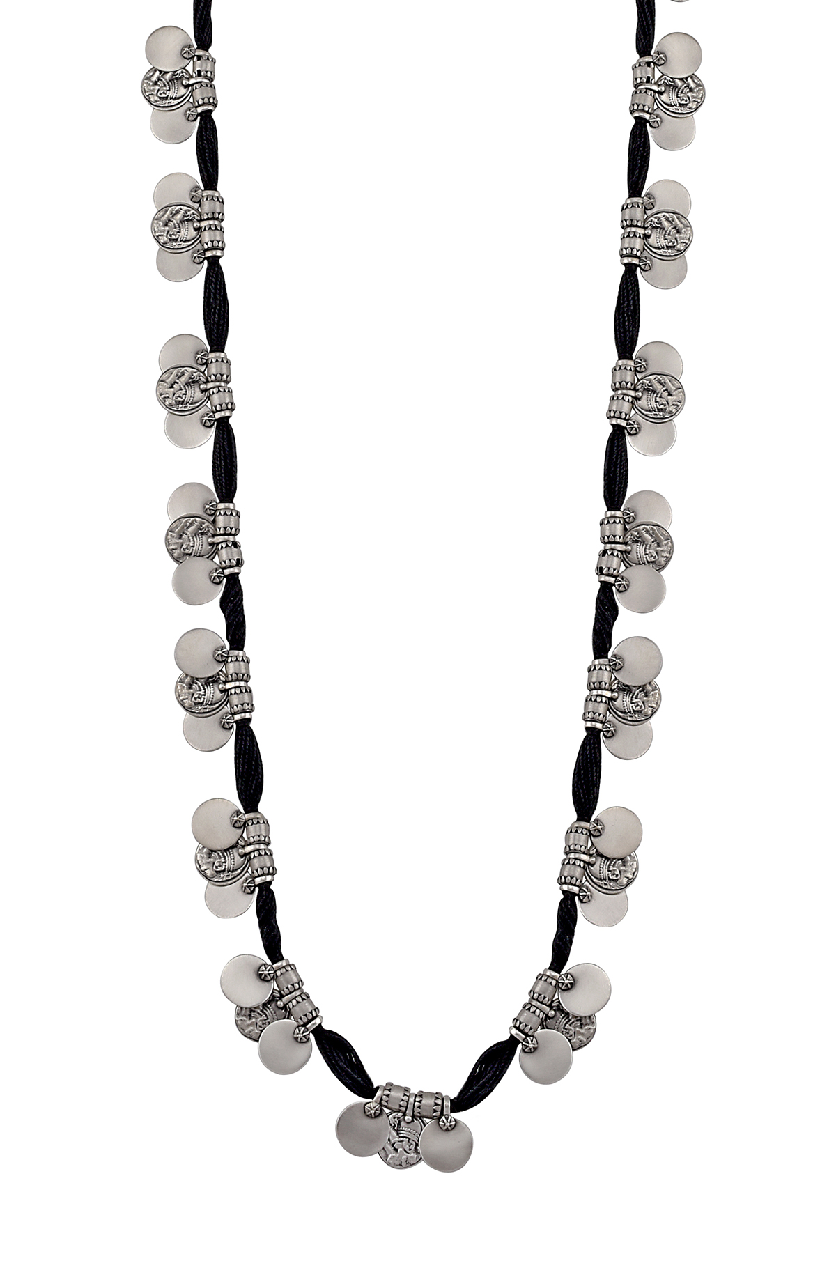 Silver Three Coin Thread Necklace