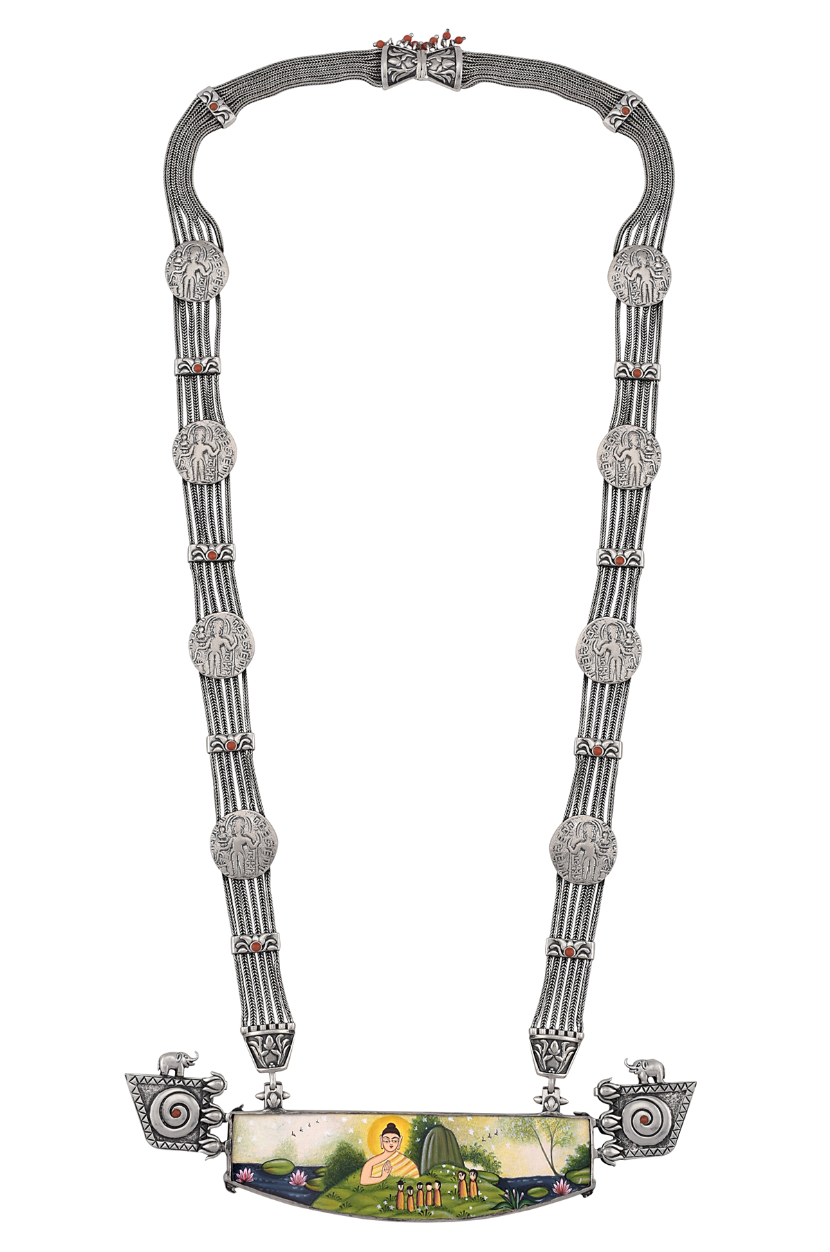 Silver Six Strand Painting Necklace