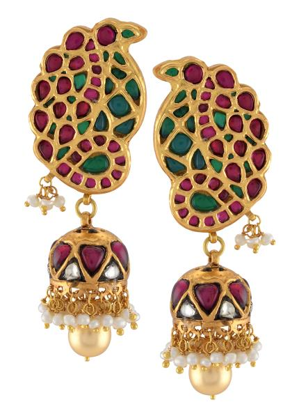 Silver Gold Plated Pink Green Paisely Pearl Drop Jhumki Earrings