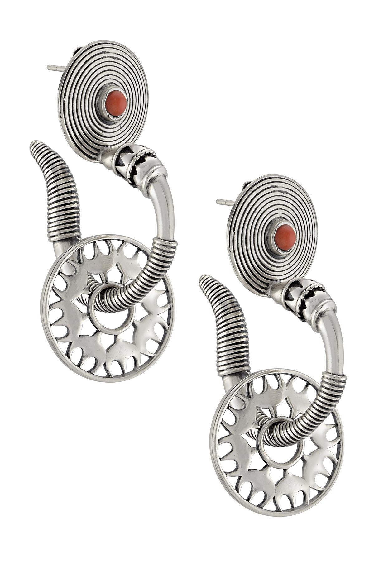 Silver Floral Wheel Charm Earrings