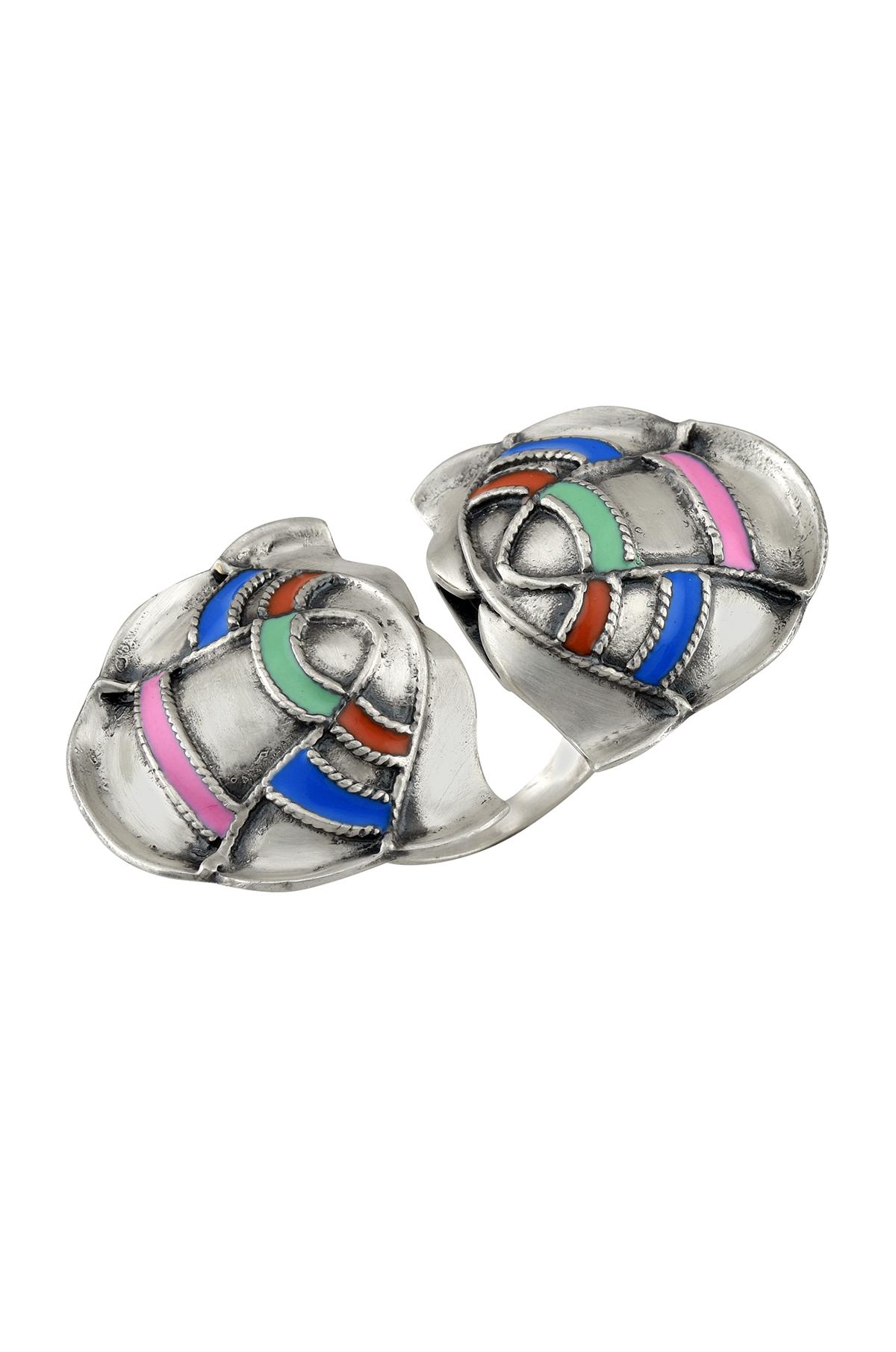 Multi Enamel Lotus Ring