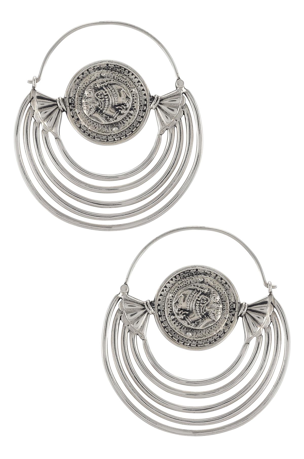 Silver Elephant Lotus Disc Hoop