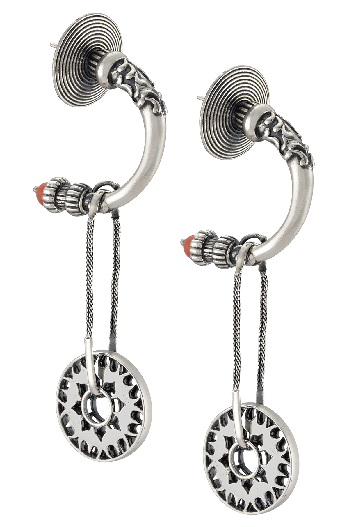Silver Floral Wheel Drop Earrings