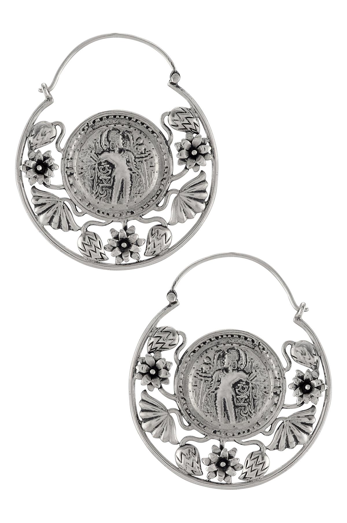 Silver Disc Floral Hoop Earrings