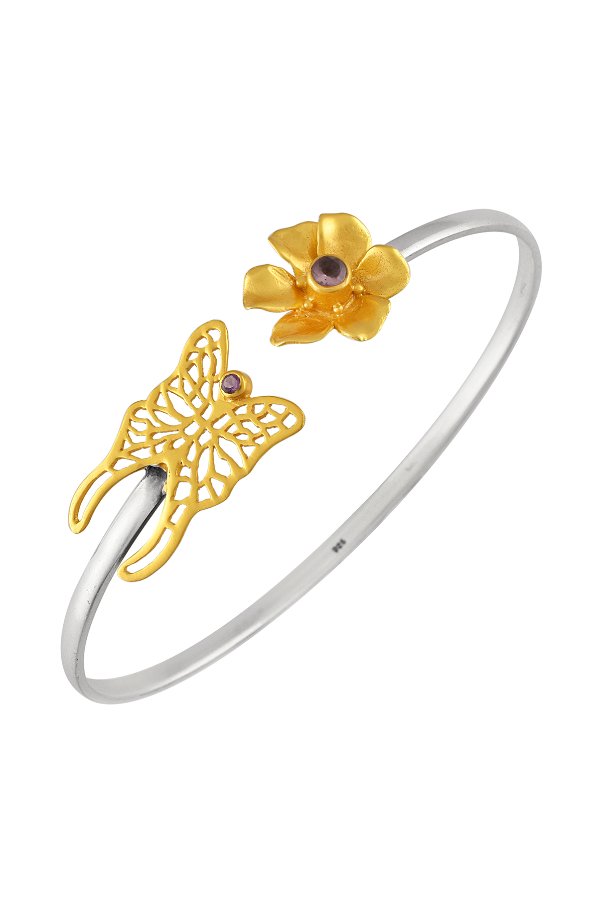 Silver Dual Tone Floral Amethyst Butterfly Bangle