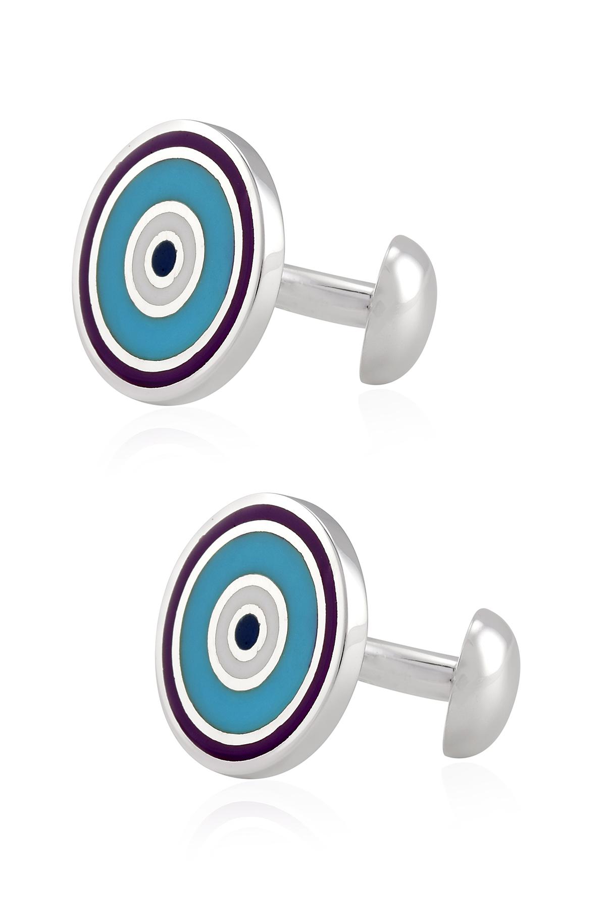 Silver Round Turquoise Purple White Enamel Cufflinks