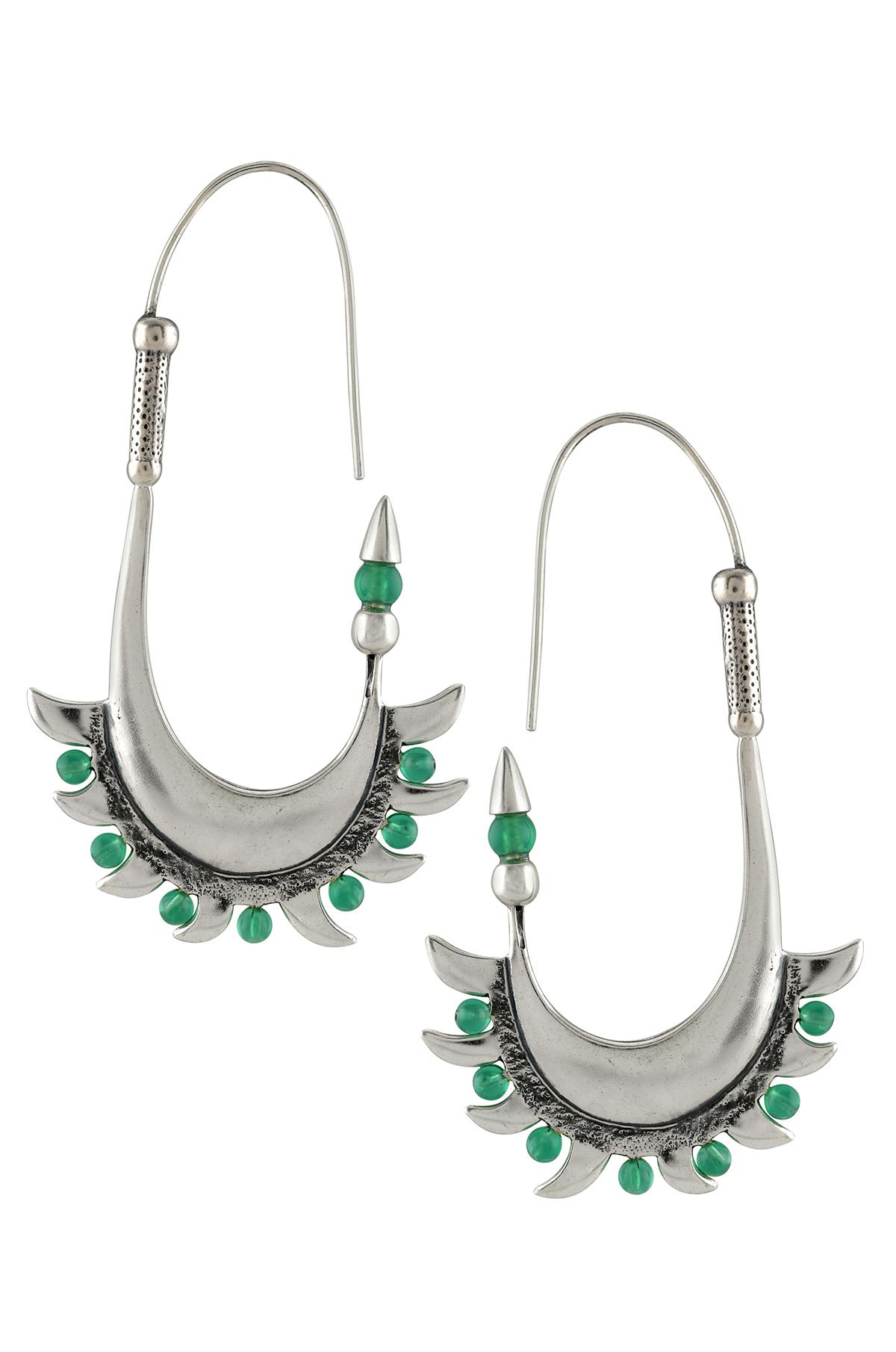 Silver Green Sun Motif Basket Earrings