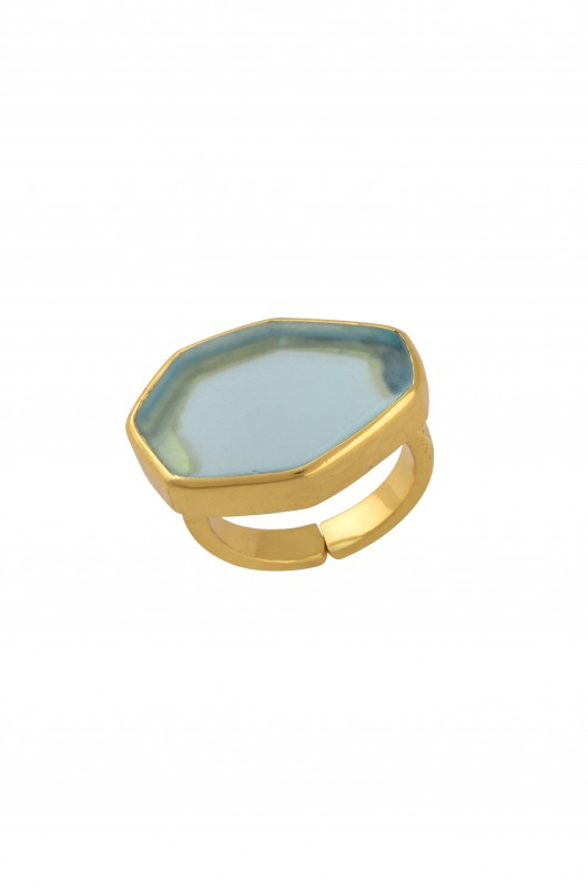 Gold Plated Green Glass Studdded Ring
