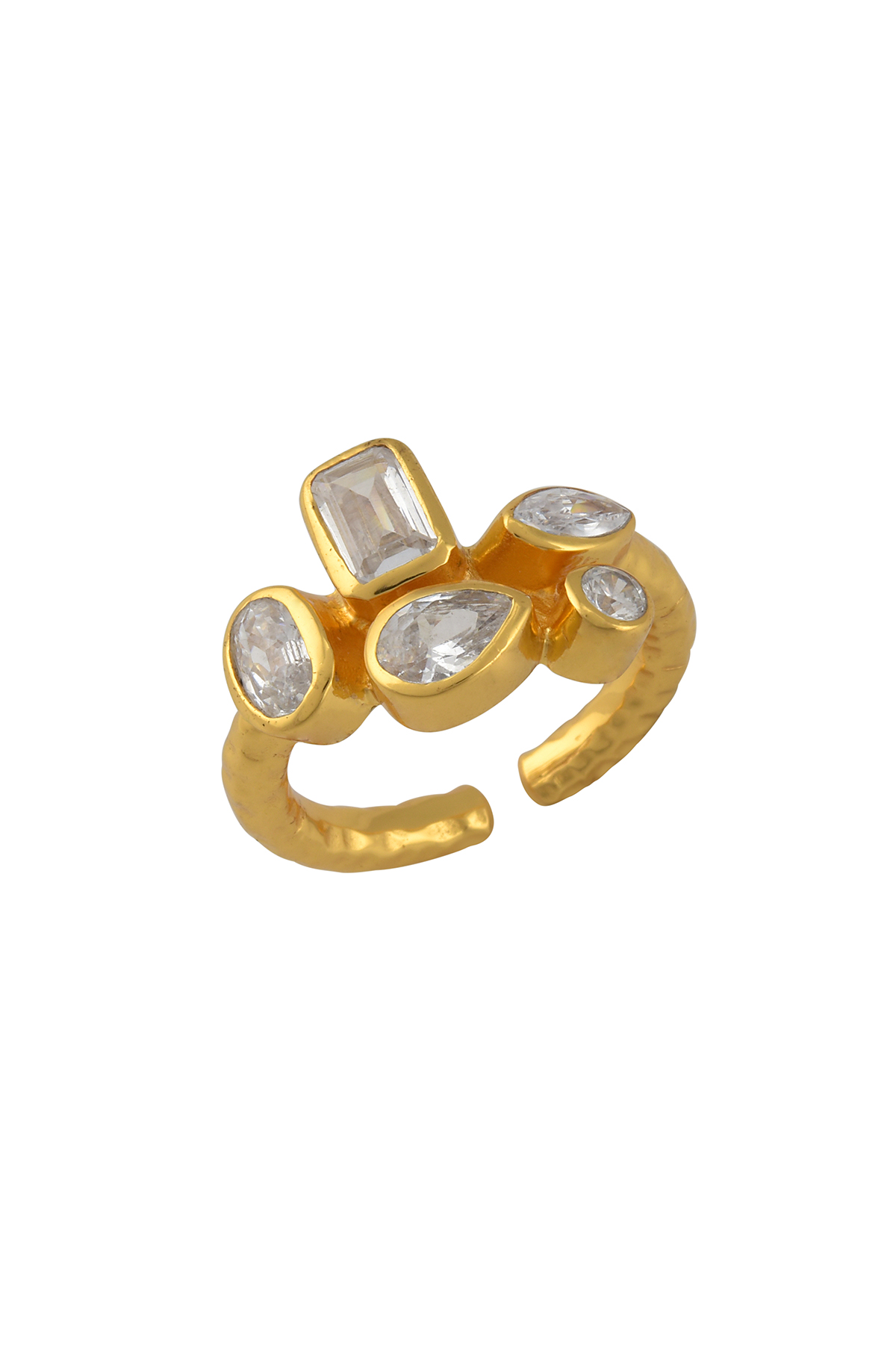 Gold Plated Zircon Multi Embellishment Ring