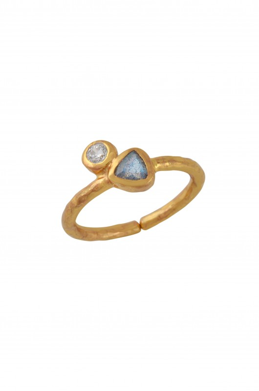 Gold Plated Round Triangle Zircon Labradorite Ring