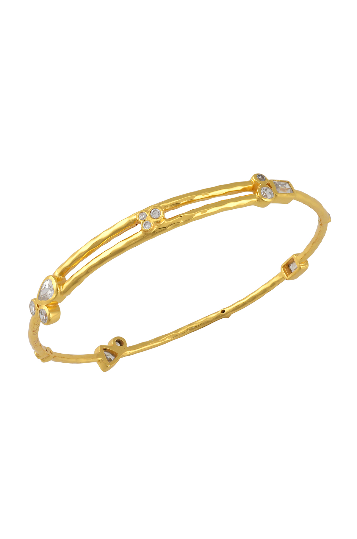 Gold Plated Zircon Multi Embellishment Bangle