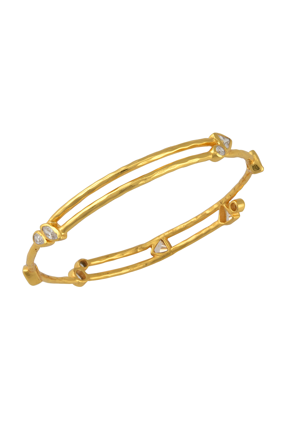 Gold Plated Zircon Triangle Embellishment Bangle