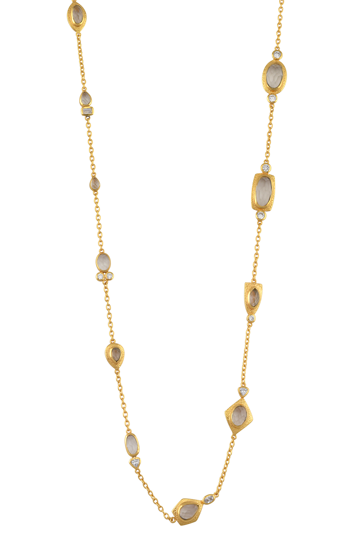 Gold Plated Zircon Multi Embellishment Necklace