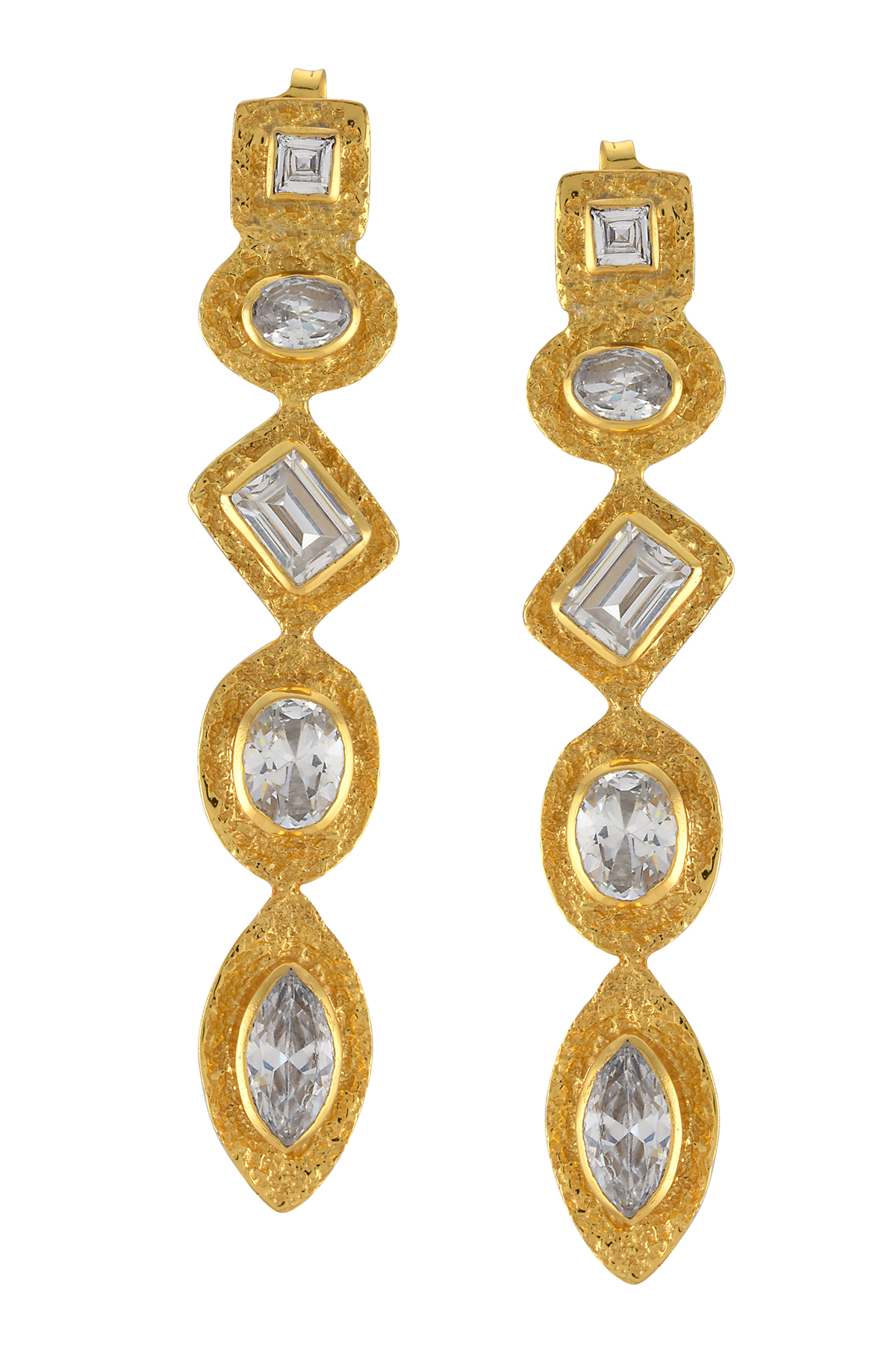 Gold Plated Textured Zircon Long Earrings