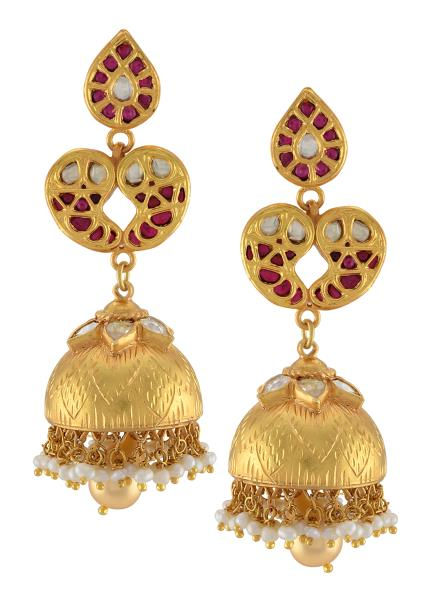 Silver Gold Plated Pear Paisely Pearl Drop Jhumka Earrings