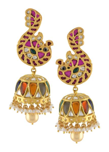 Silver Gold Plated Colorful Glass Jhumka Peacock Earrings