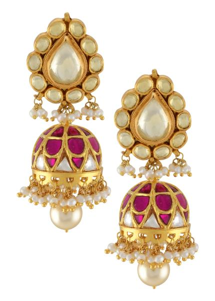 Silver Gold Plated White Pink Pearl Drop Jhumki Earrings