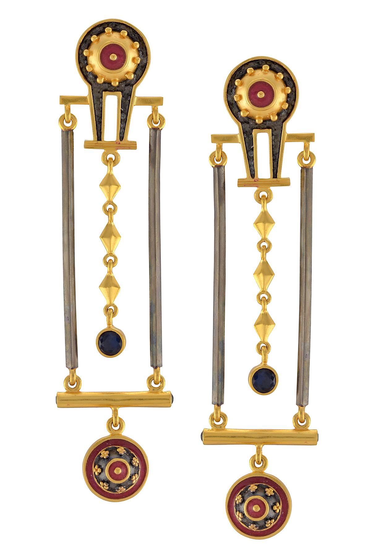 Dual Tone Shivling Rawa Charm Tassel Drop Earrings