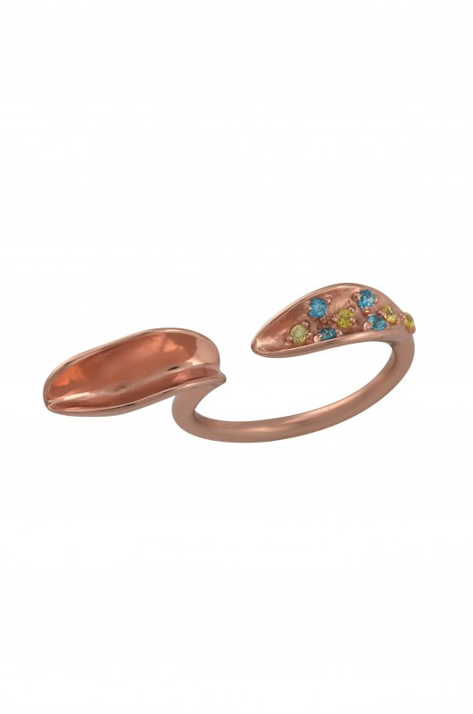 Silver Rose Gold Plated Leafy Double Embellishment Ring
