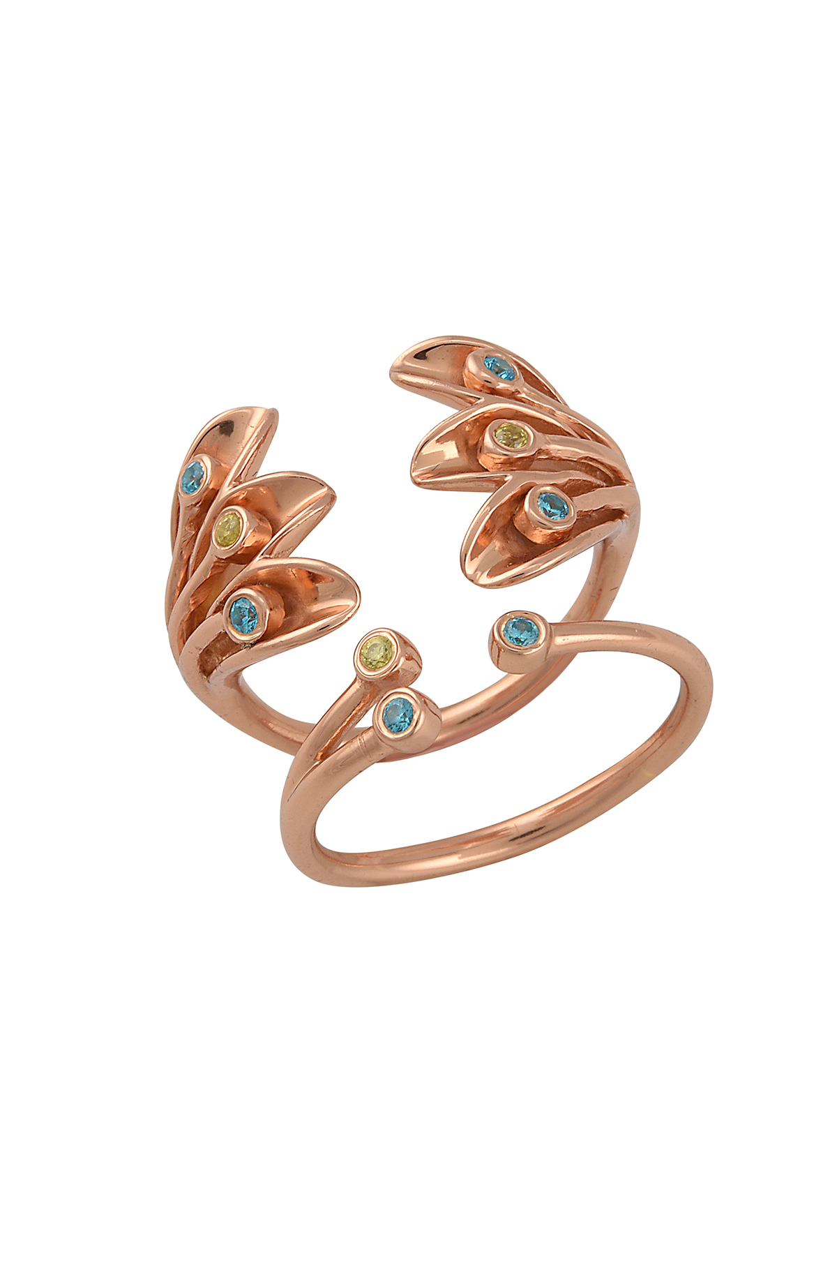 Silver Rose Gold Plated Leaf Zircon Ring Set