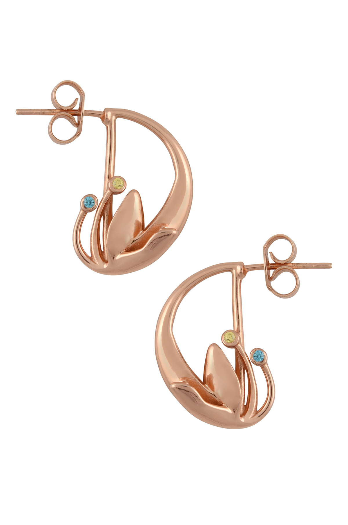 Silver Rose Gold Plated Leafy D Shaped Earrings
