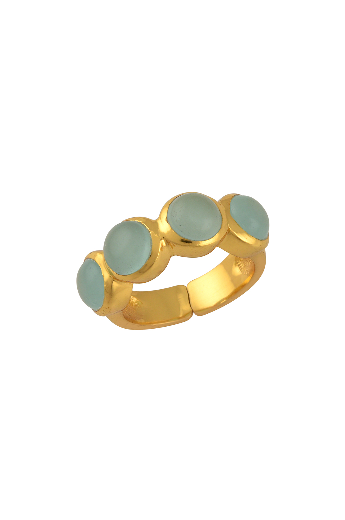 Gold Plated Aqua Round Glass Ring