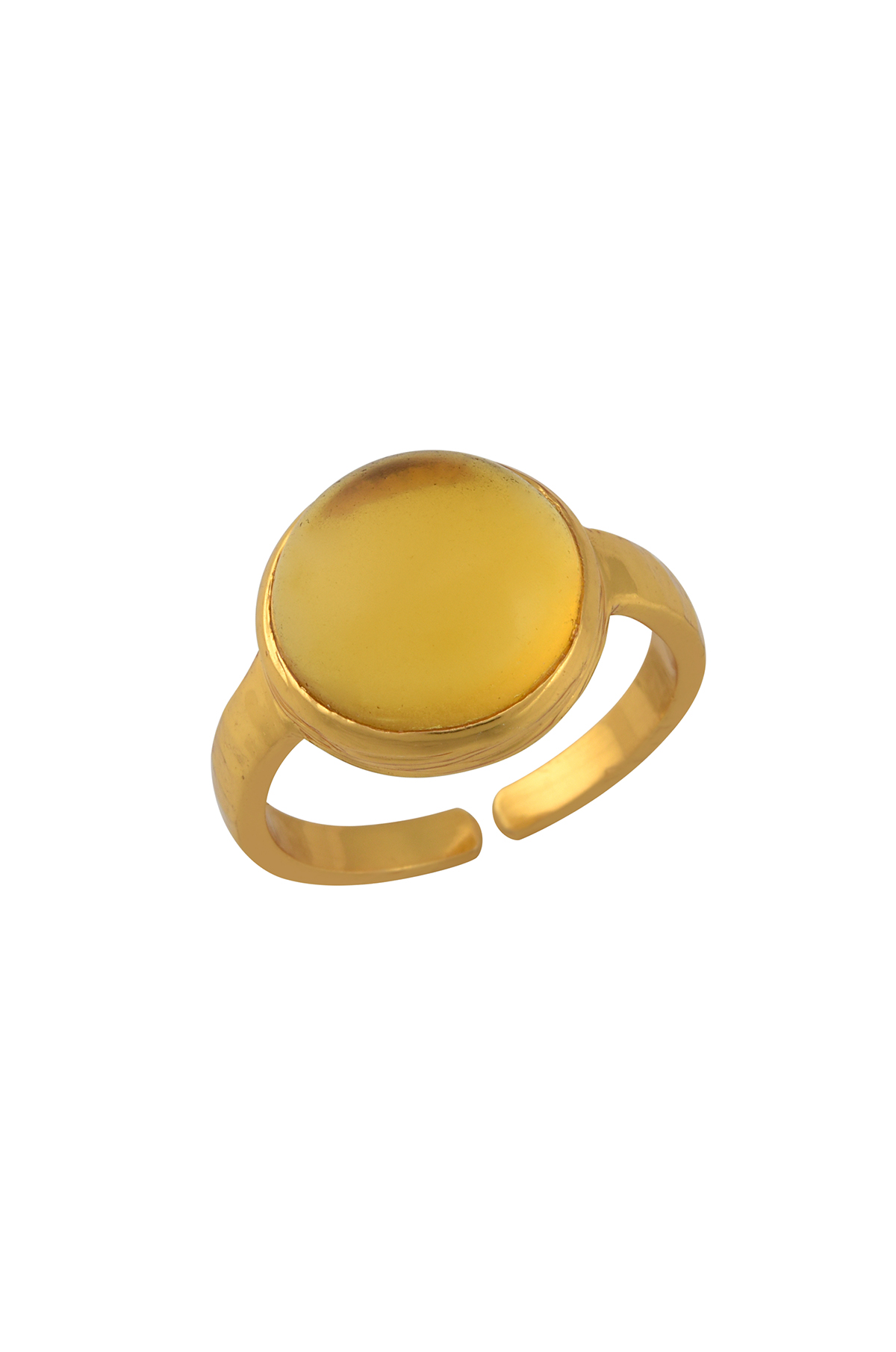 Gold Plated Round Glass Ring