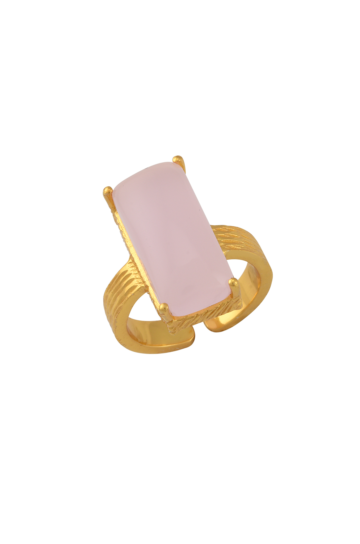Gold Plated Textured Pink Glass Rectangle Ring