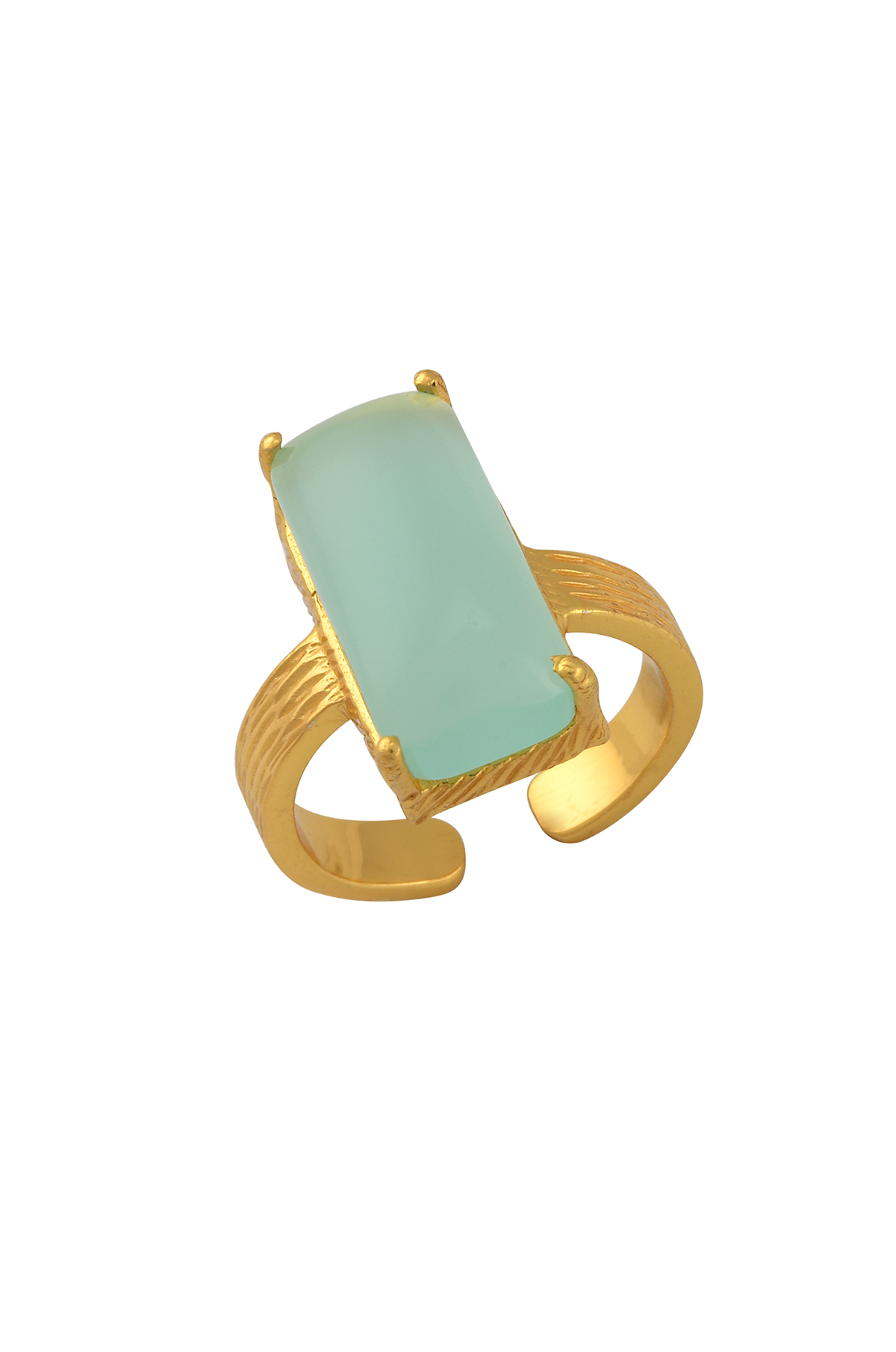 Gold Plated Textured Green Glass Rectangle Ring