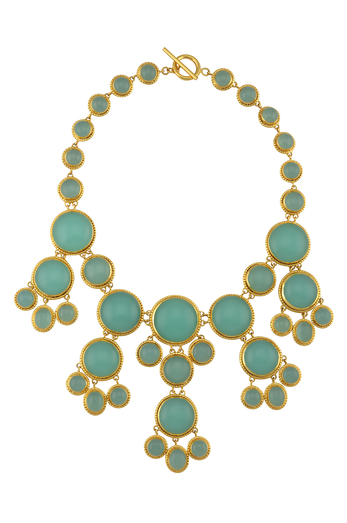 Gold Plated Glass Multi Circle Necklace