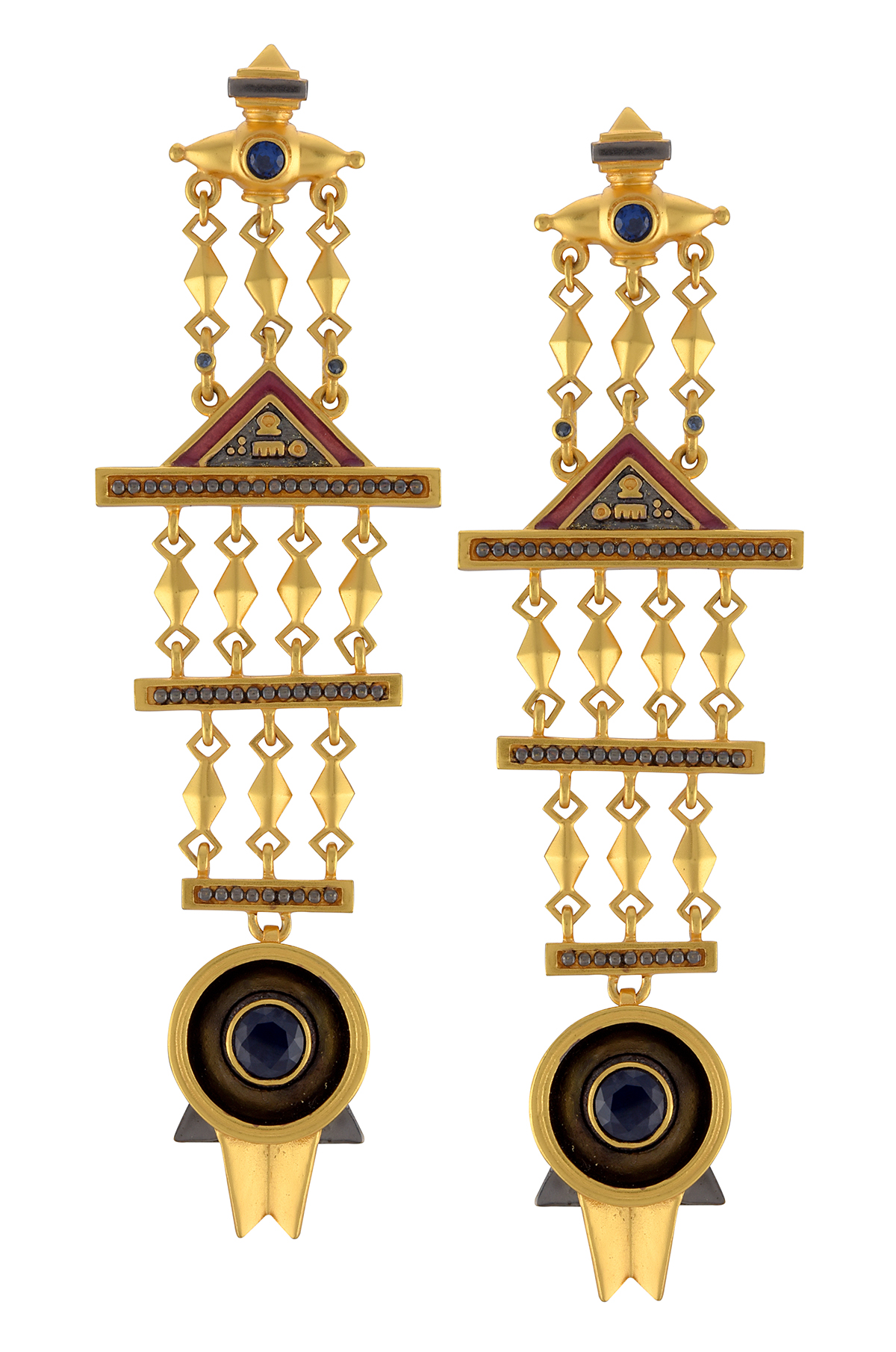 Dual Tone Multi Drop Shivling Earrings
