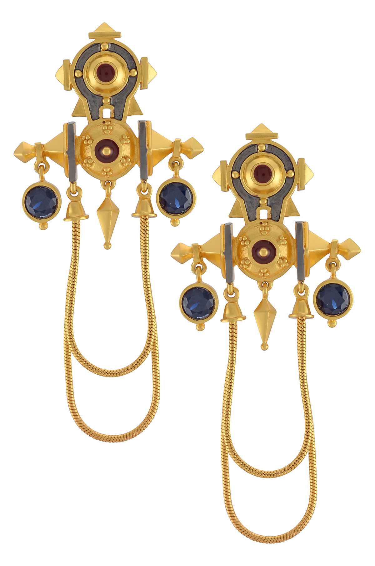 Shiv Yantra Multi Drop Earrings