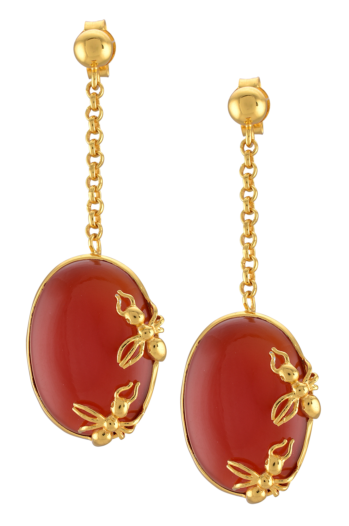 Silver Gold Plated Ant Oval Red Onyx Earrings