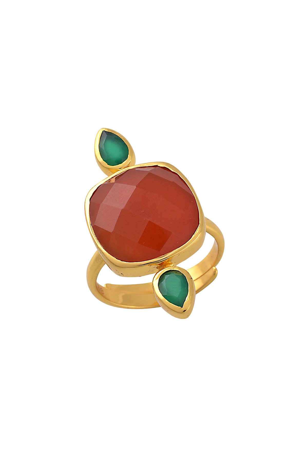 Silver Gold Plated Red Square Green Pear Ring