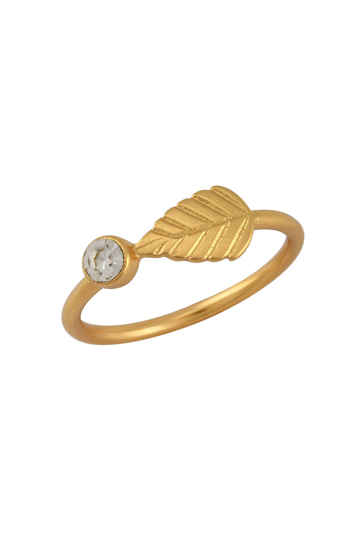 Gold Plated Round Zircon Leaf Ring