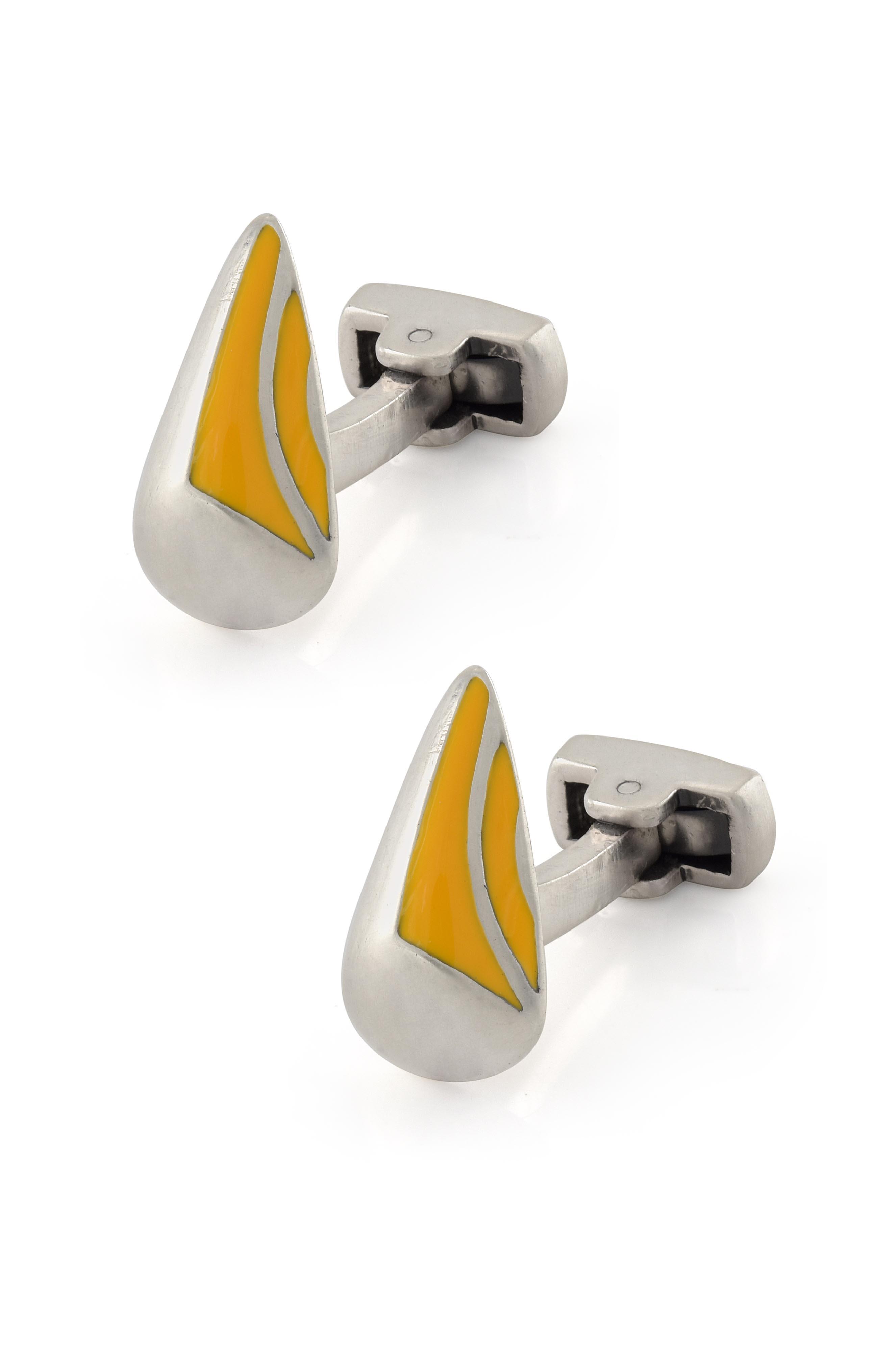 Yellow Enamel Cufflinks