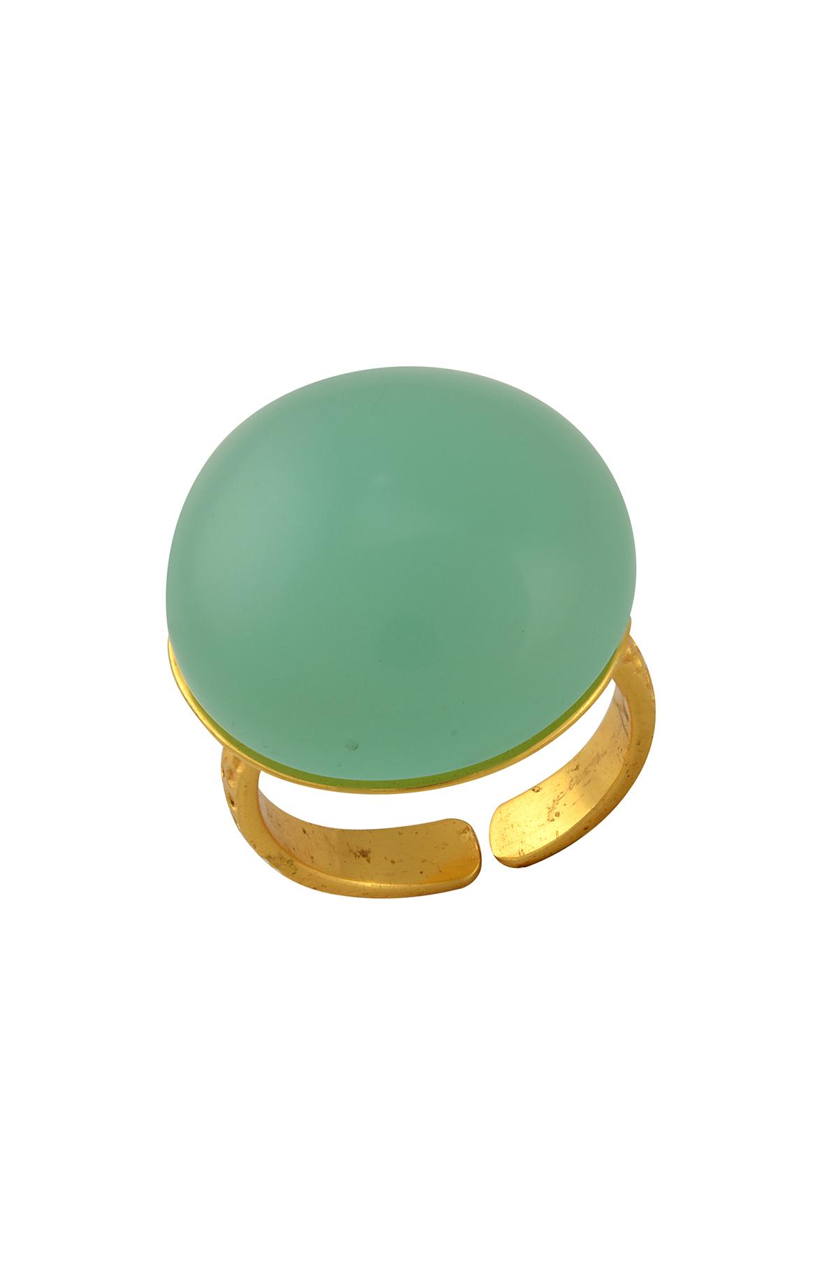 Round Aqua Glass Ring