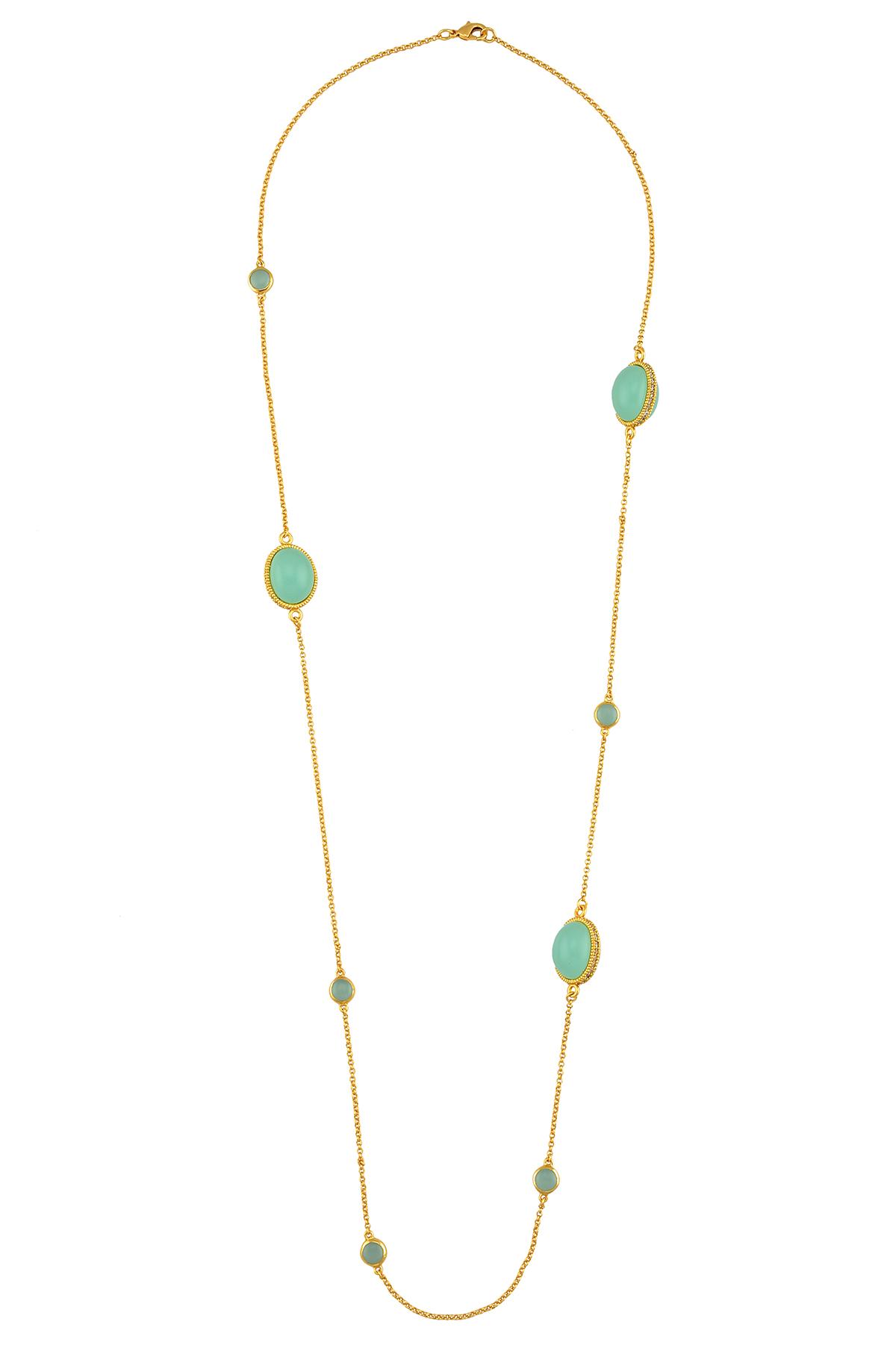 Aqua Oval Round Glass Single Strand Necklace
