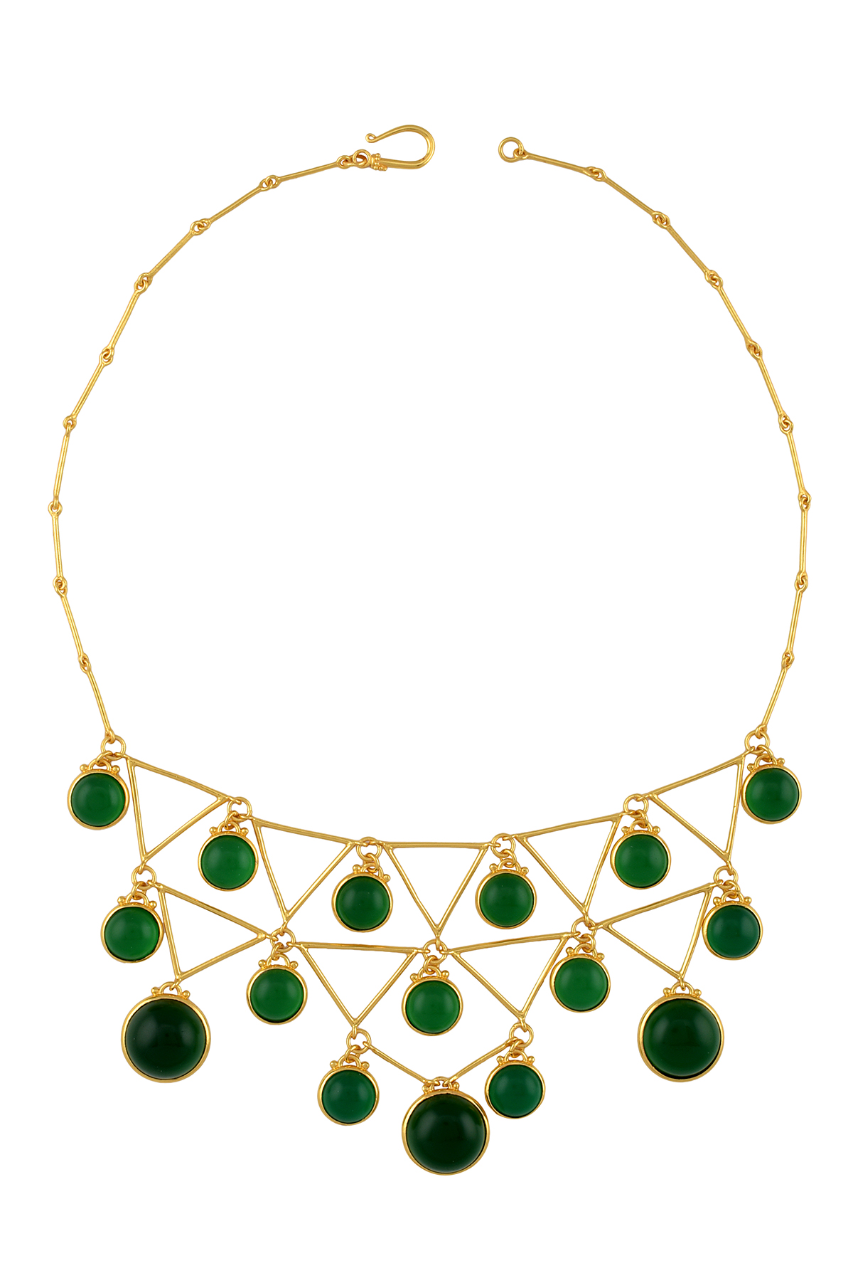 Gold Plated Green Glass Triangle Circle Multi Drop Necklace