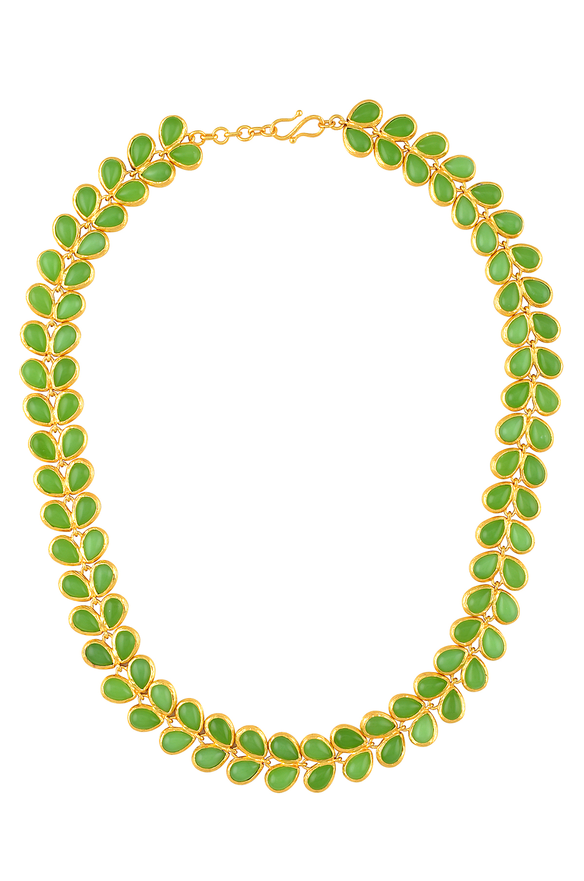 Gold Plated Floral Green Glass Necklace