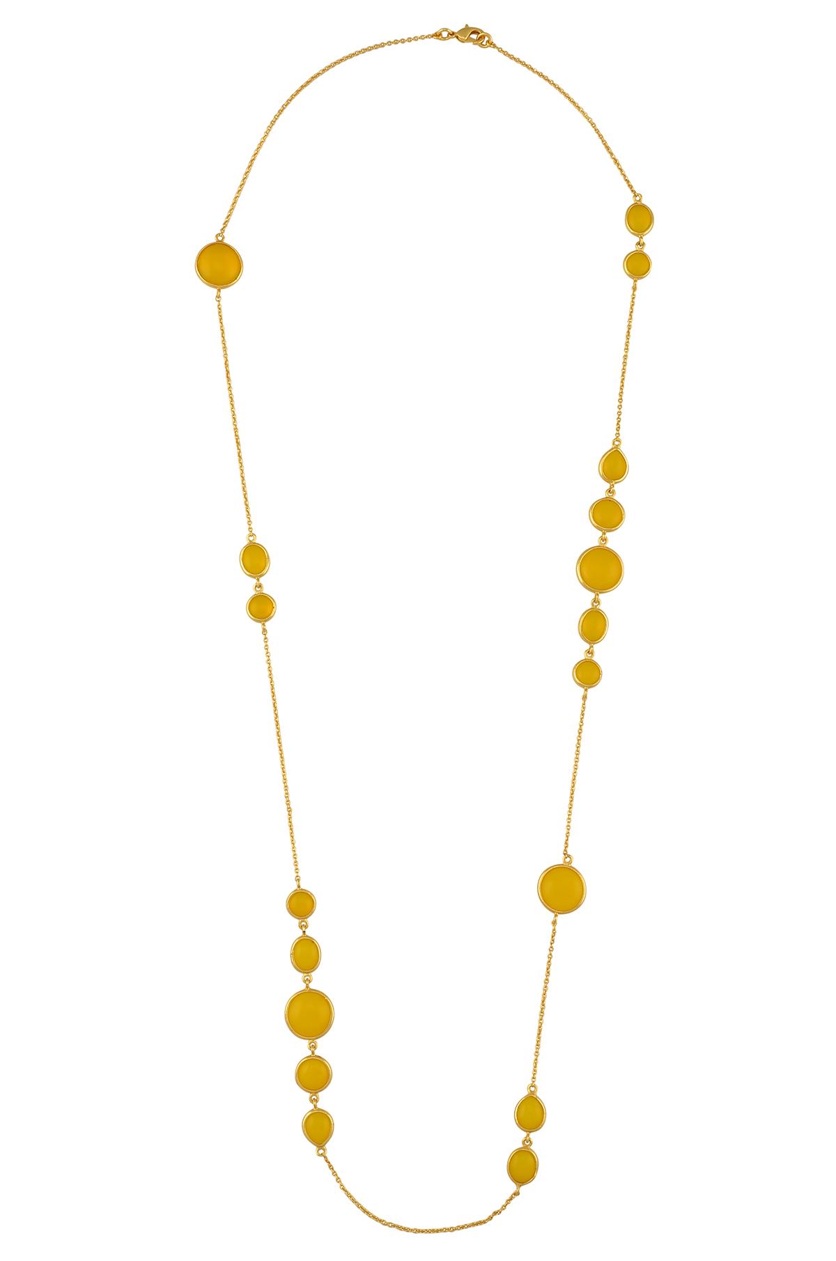 Multi Shaped Lemon Glass Chain Necklace