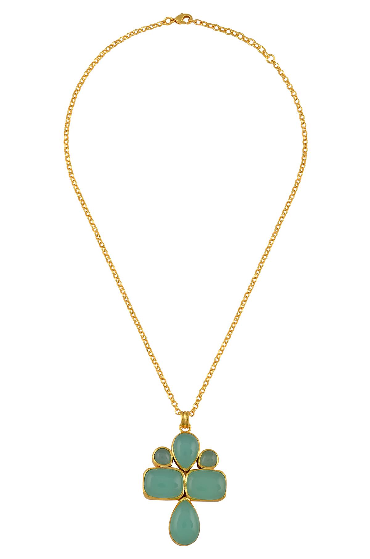 Gold Plated Multi Shape Aqua Glass Chain Pendant