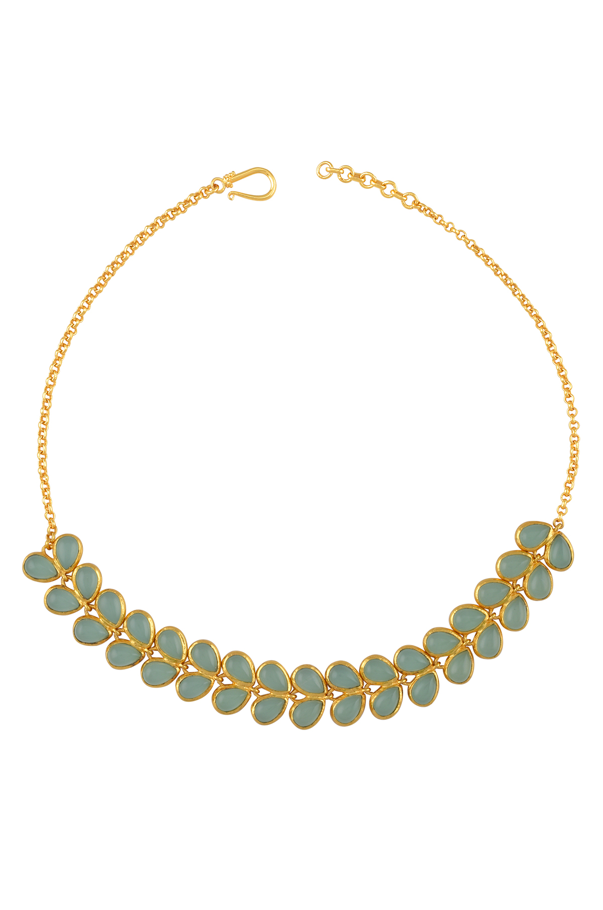 Gold Plated Aqua Glass Leafy Necklace