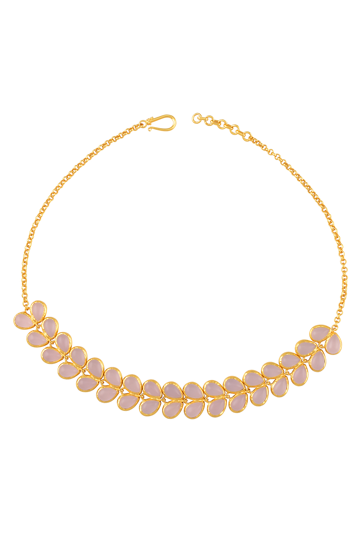 Gold Plated Pink Glass Leafy Necklace