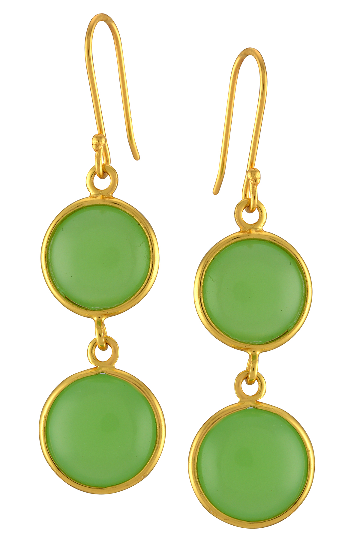 Green Glass Round Double Drop Earrings