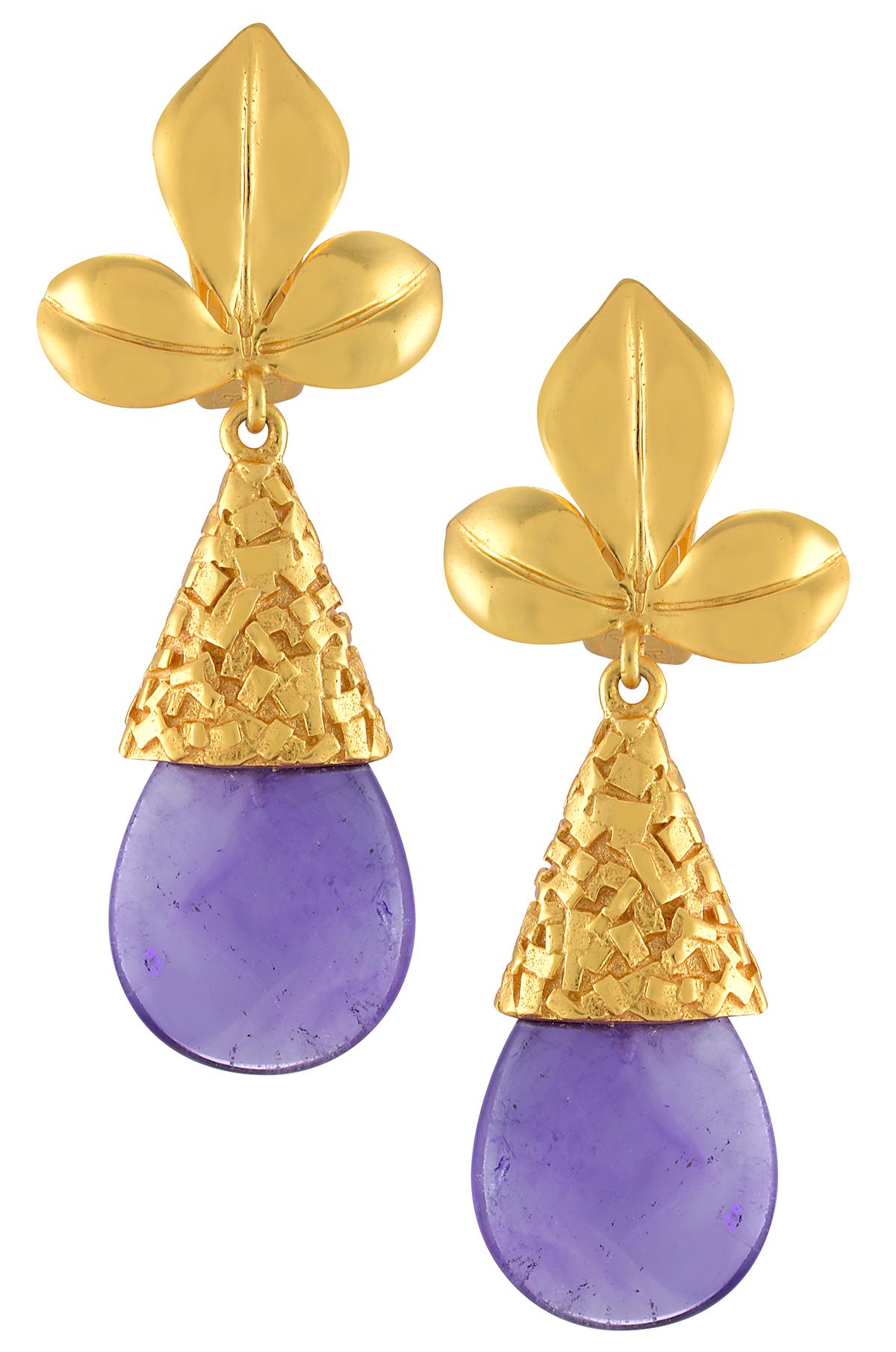 Leafy Textured Amethyst Earrings
