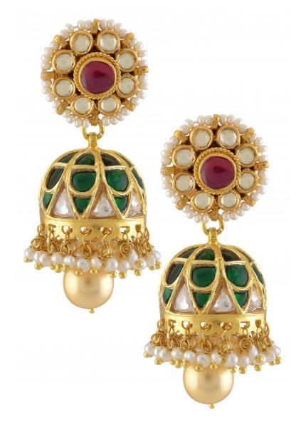 Silver Gold Plated Green Crystal Floral Jhumki Earrings
