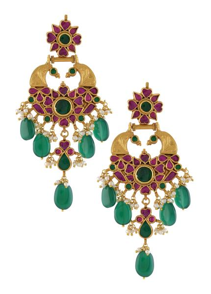 Silver Gold Plated Peacock Glass Drop Crystal Pearl Earrings